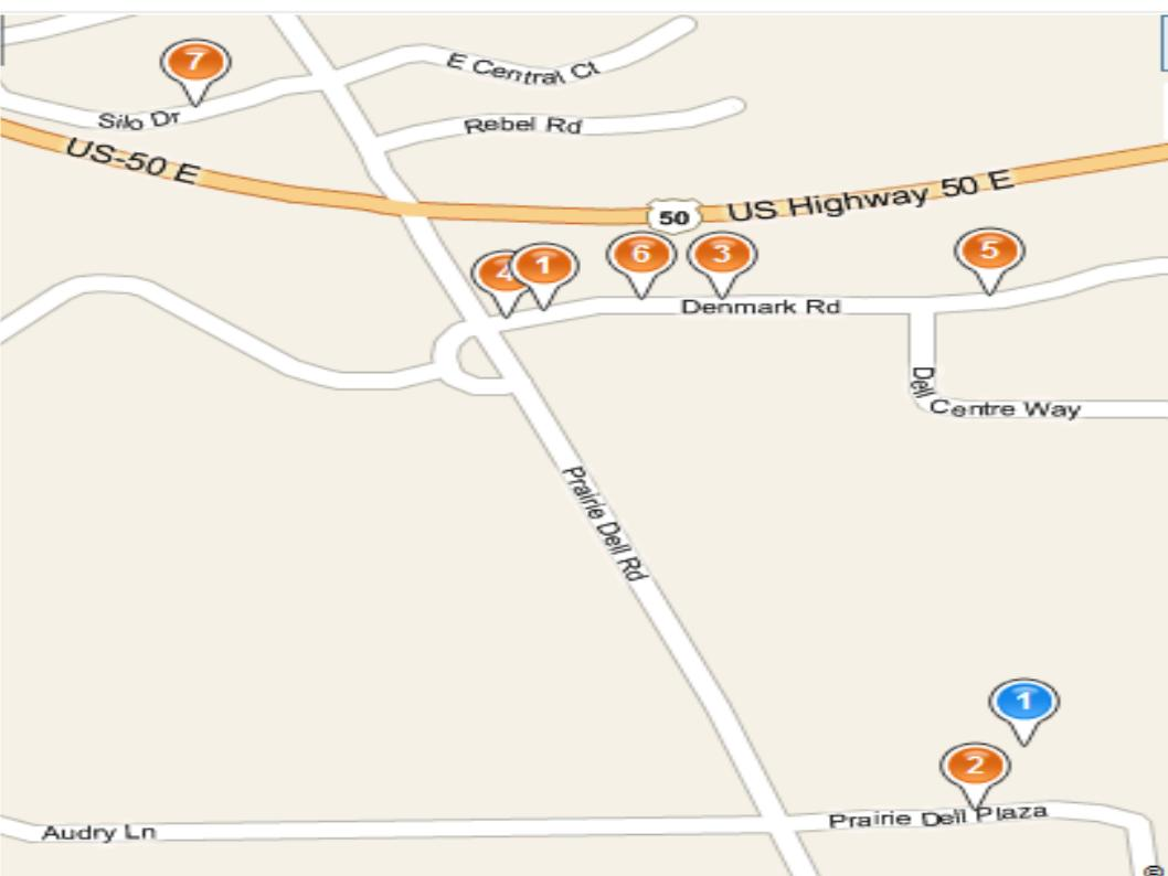 Map of nearby restaurants